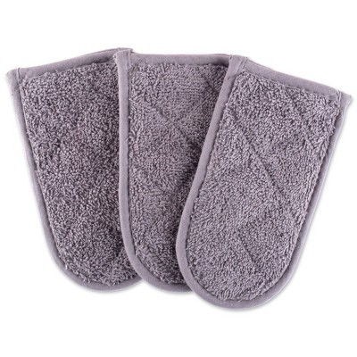 3pk Cotton Terry Pan Handles Gray - Design Imports