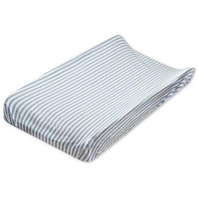 Honest Baby Organic Cotton Changing Pad Cover - Blue Ticking Stripe