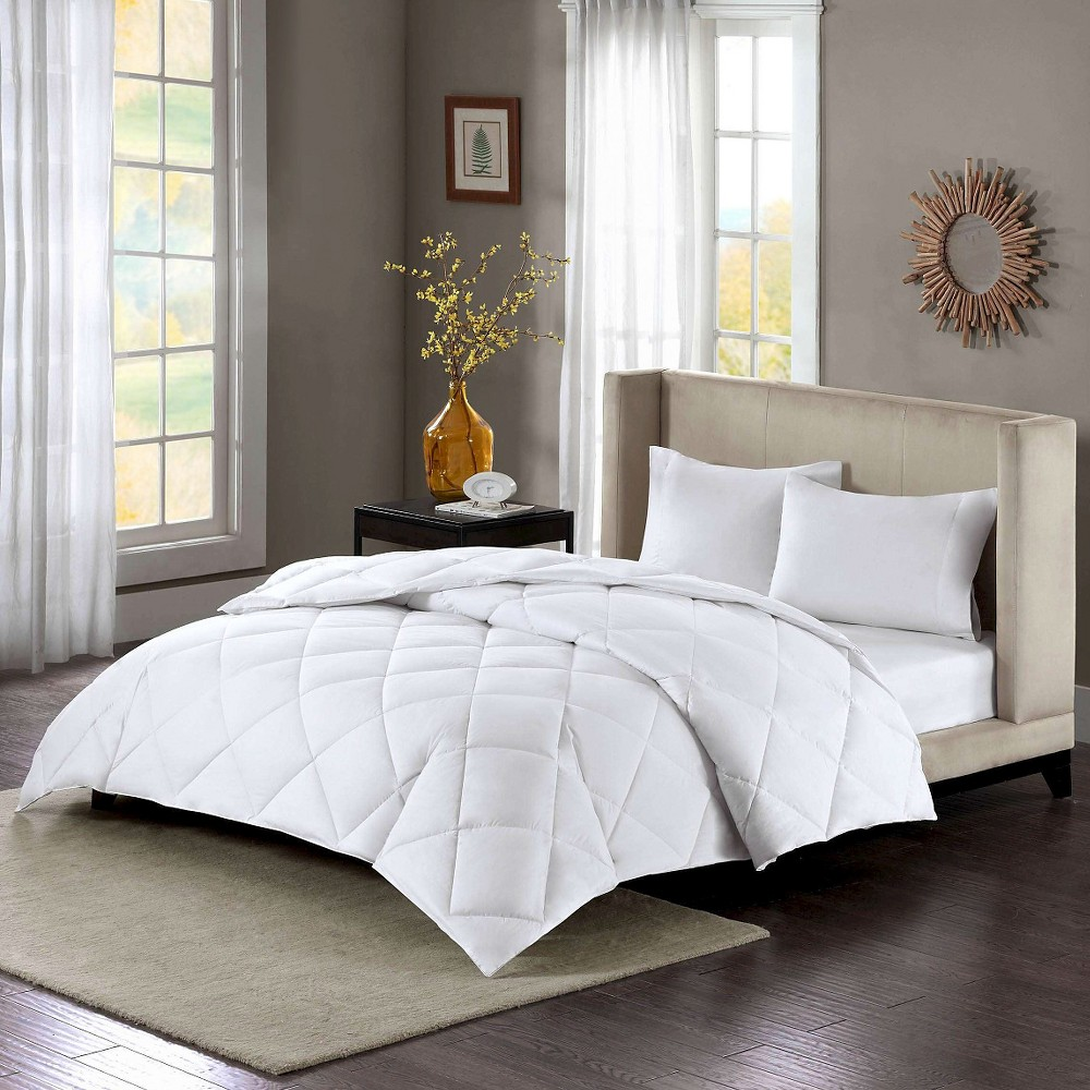 Image of Cotton Sateen Down Alternative Comforter Level 3 Warmest 3M Thinsulate Maximum Warmth (Full/Queen) White