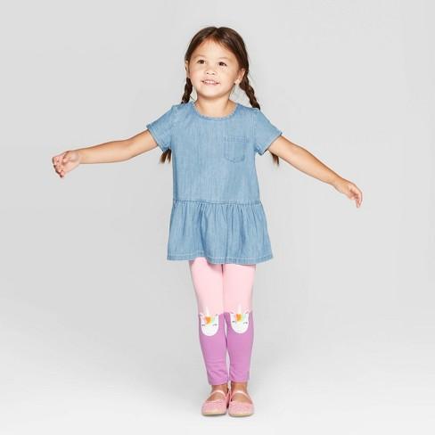 Toddler Girls' Chambray Top and Unicorn Knee Leggings Set - Cat & Jack™ Blue/Pink - image 1 of 3