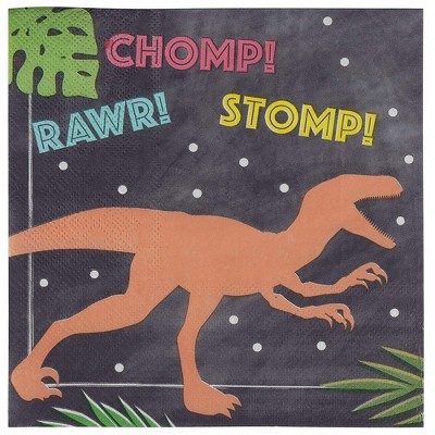 Juvale 100 Pack Dino Disposable Paper Napkins Dinosaur Party Supplies 6.5 x 6.5 Inches