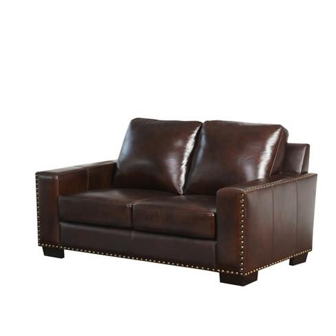 Pleasant Marsala Top Grain Leather Loveseat Brown Abbyson Living Uwap Interior Chair Design Uwaporg