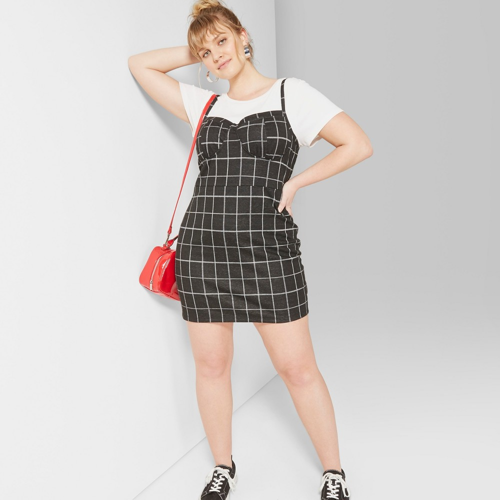 Women's Plus Size Strappy Plaid Knit Dress - Wild Fable Black/White 3X