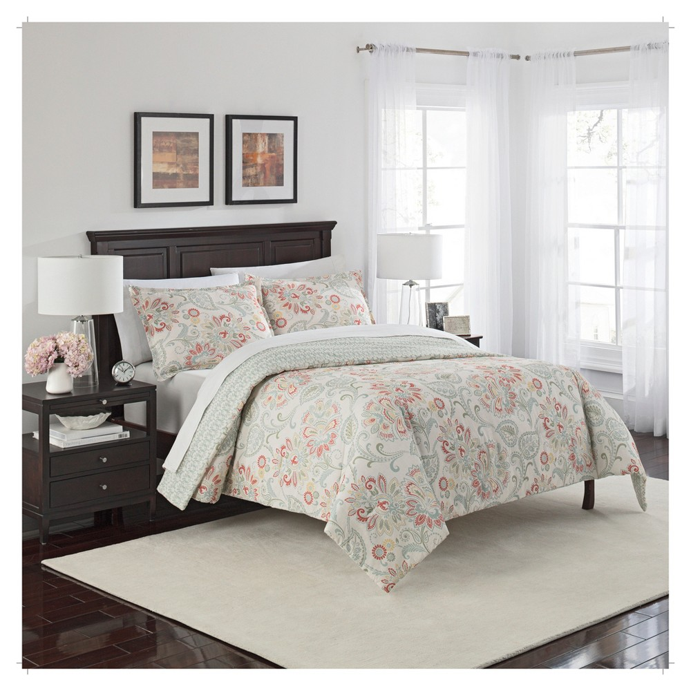 Image of Floral Carlisle Reversible Comforter Set (King) 3pc - Marble Hill, Beige