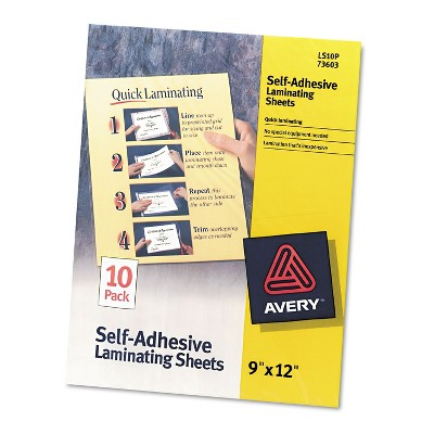 Avery Clear Self-Adhesive Laminating Sheets 3 mil 9 x 12 10/Pack 73603