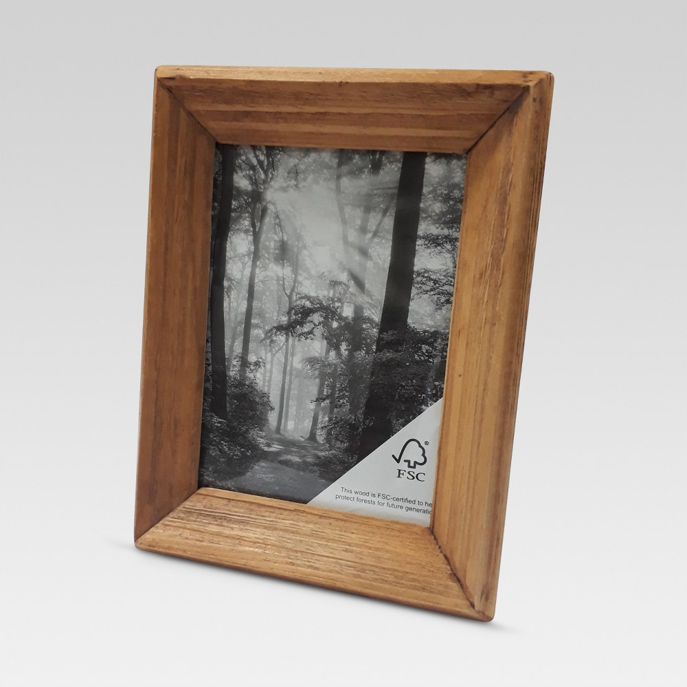 Image of Beveled Wood Single Picture Frame 5x7 - Threshold , Brown
