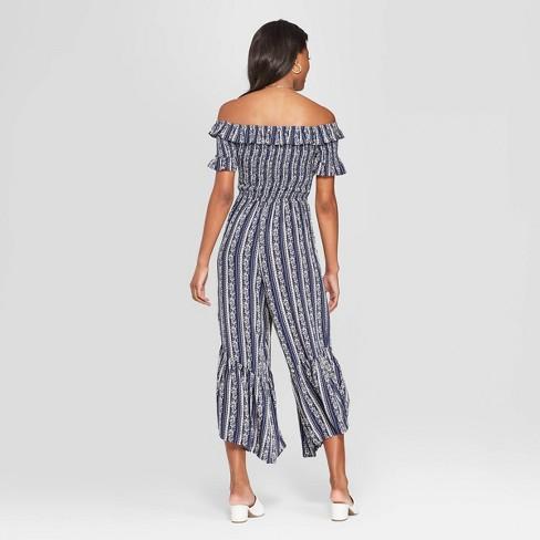 6362581deb806d Women s Floral Print Short Sleeve Off The Shoulder Smocked Top Jumpsuit -  Xhilaration™ Navy XXL   Target