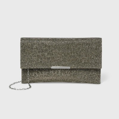 Estee & Lilly Snap Closure Shimmer Clutch - Green