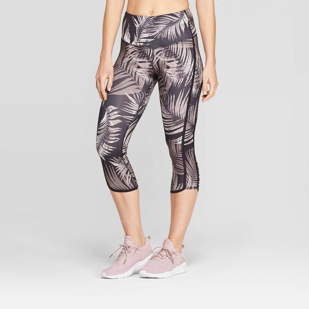 Best Women Everyday High Waisted Tropical Print Capri Leggings 20 C9 Champion Gray XL