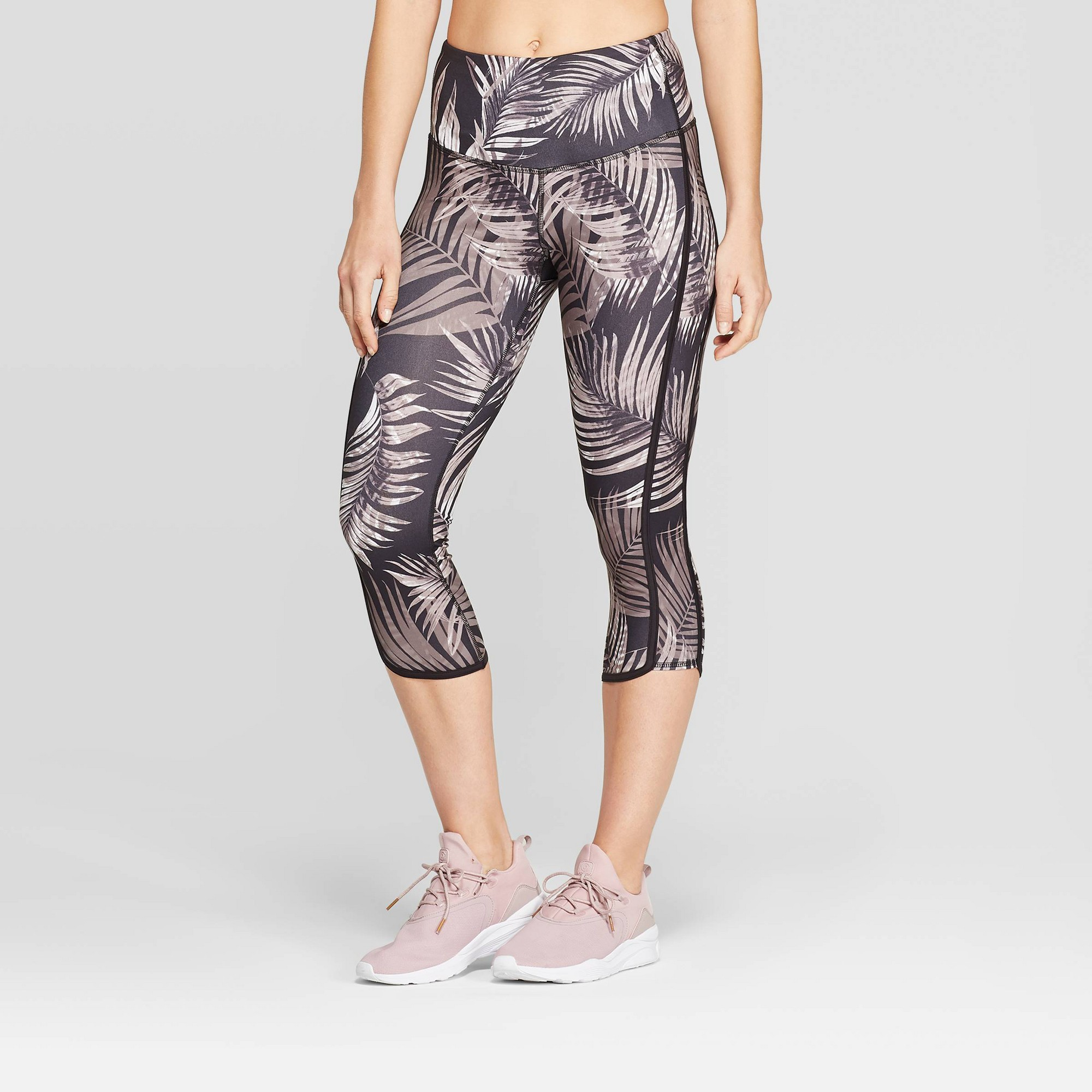 Women's Everyday High-Waisted Tropical Print Capri Leggings 20 - C9 Champion Gray XL