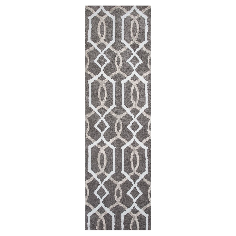 Taupe Geometric Tufted Runner 2'3