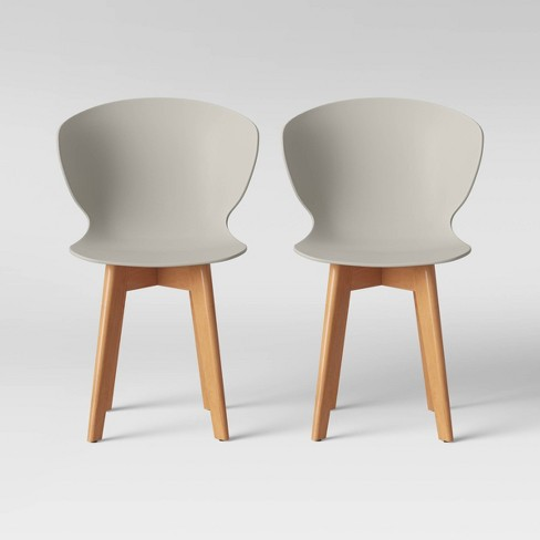 Set Of 2 Lever Plastic Dining Chair With Wood Legs Gray Project 62