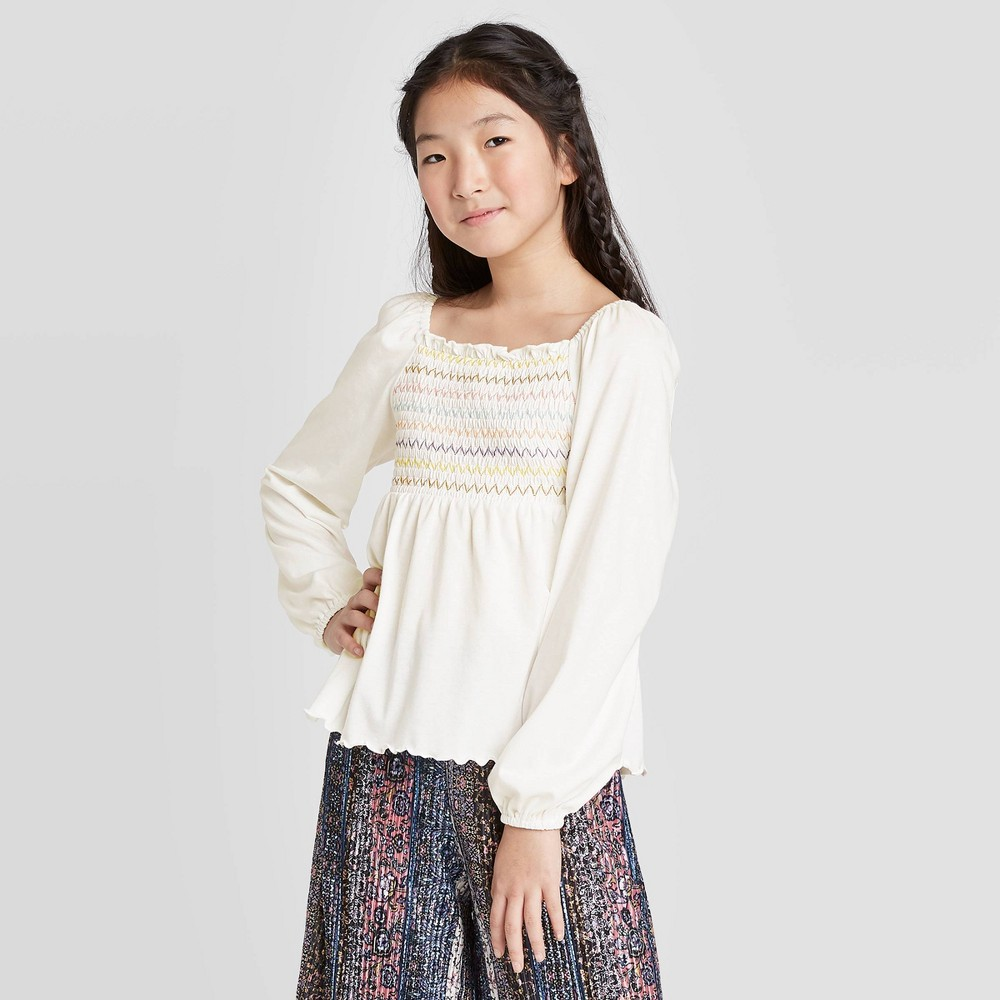Image of Girls' Smocked Knit Top - art class Cream L, Girl's, Size: Large, Beige