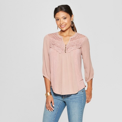 a3f822a527c92 Women s 3 4 Sleeve Lace Back Blouse - Knox Rose™ Pink   Target