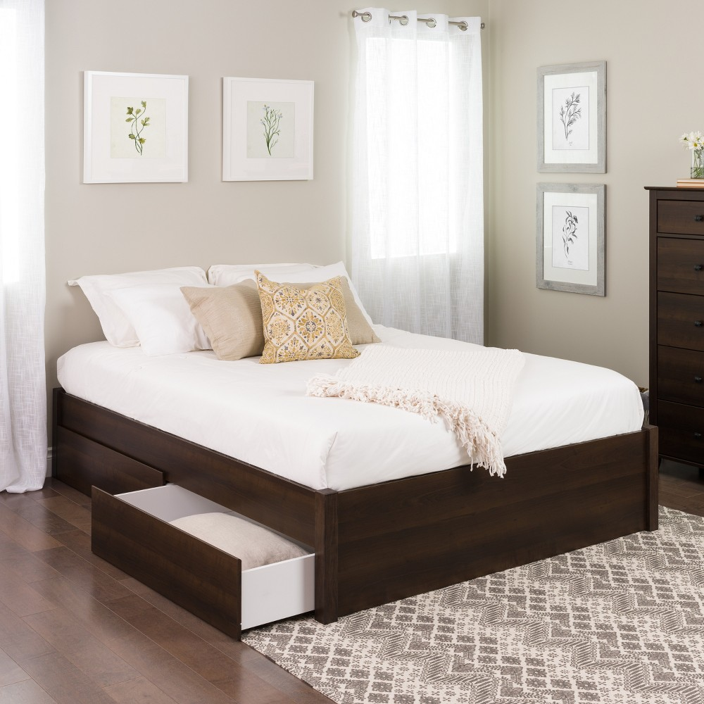 Queen Select 4-Post Platform Bed with 4 Drawers Espresso Brown - Prepac