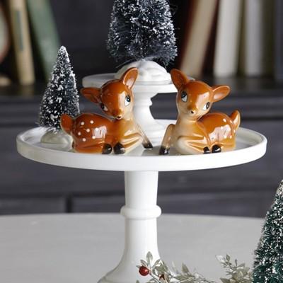 Lakeside Ceramic Holiday Reindeer Salt & Pepper Shaker Set - Set of 2