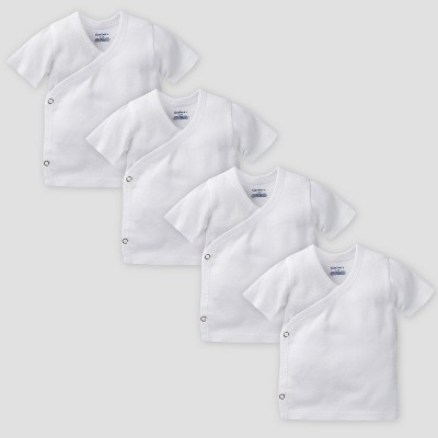 Gerber Baby Organic Cotton 4pk Short Sleeve Side Snap Shirt - White 0/3M