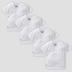 Gerber Baby Organic Cotton 4pk Short Sleeve Side Snap Shirt - White 0/3M