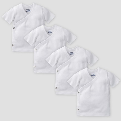 Gerber Baby Organic Cotton 4pk Short Sleeve Side Snap Shirt - White 0/3M - image 1 of 1