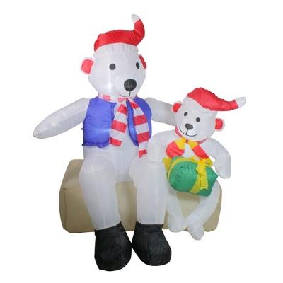 Northlight 4' Inflatable Polar Bear Family Lighted Christmas Yard Art Decor