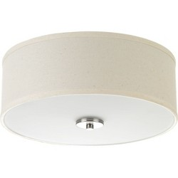 "Progress Lighting P3713 Inspire 2 Light 13"" Wide Flush Mount Drum Ceiling Fixture"