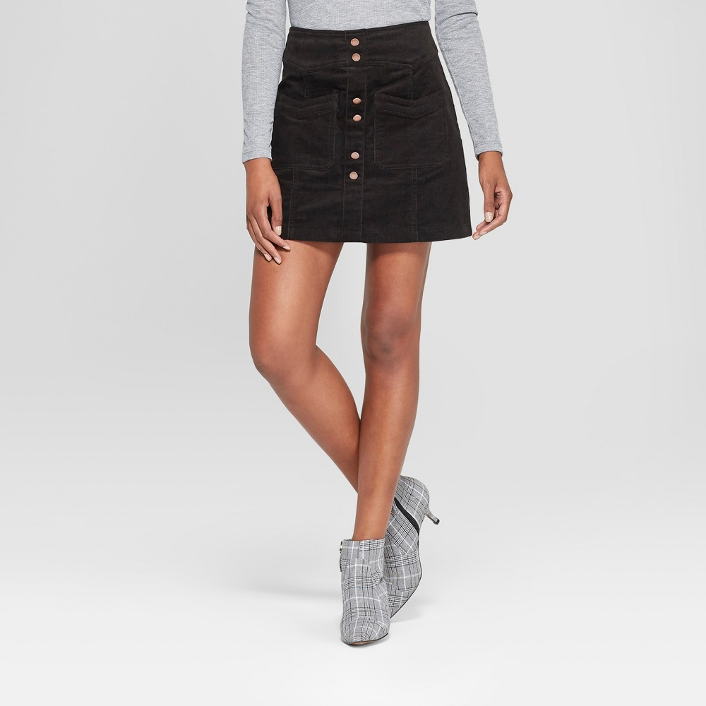 Image of Women's Button Detail Corduroy Skirt - 3Hearts (Juniors') Black L