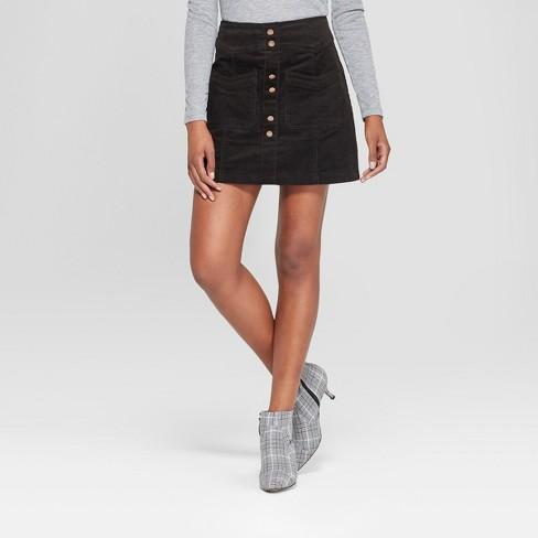 5769c5230 Women's Mini Button Detail Corduroy Skirt - 3Hearts (Juniors') Black ...