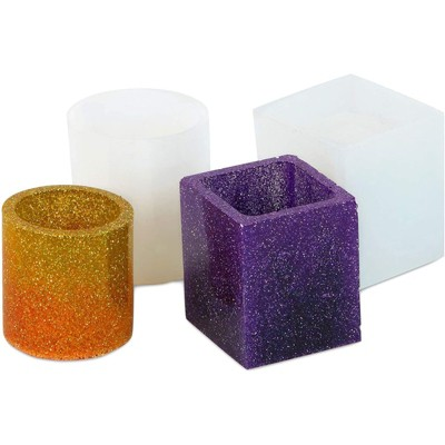 Bright Creations 2 Packs Silicone Epoxy Resin Cup Molder for DIY Crafts, Cylinders and Squares, 3.45 inches