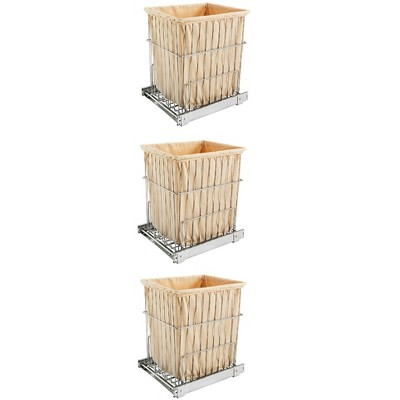 Rev-A-Shelf HRV-1520 S CR Cabinet Floor Mounted Pullout Wire Clothes Laundry Hamper Basket with Liner and Full Extension Slides, Chrome (3 Pack)