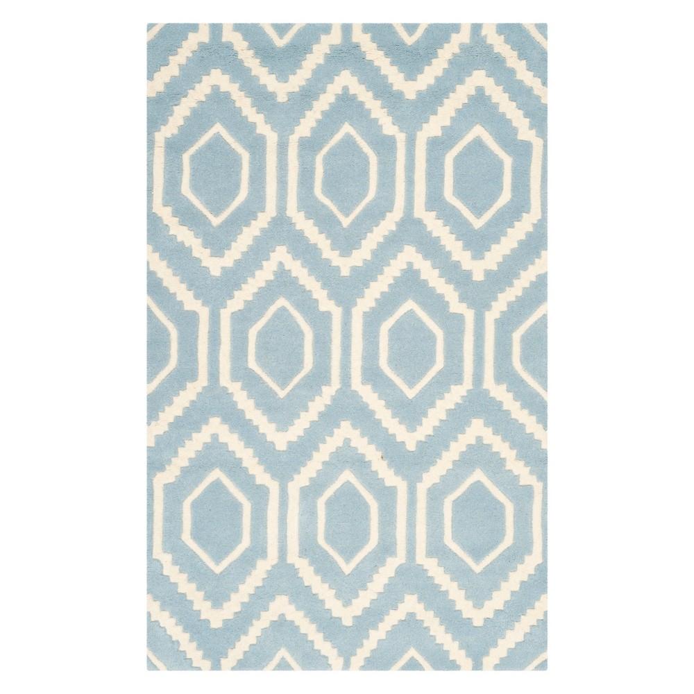 3'X5' Geometric Tufted Accent Rug Blue/Ivory - Safavieh