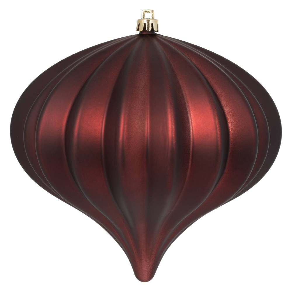 "Image of ""3ct Vickerman 5.7"""" Matte Onion Ornament, UV Coated Ornament Set Burgundy"""