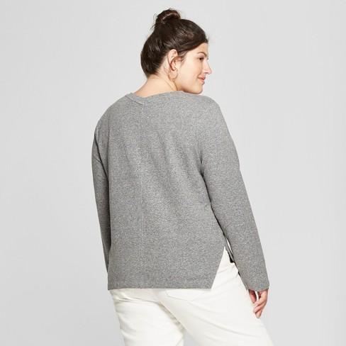 34e4b643a3402 Women s Plus Size Textured V-Neck Long Sleeve Pullover - Ava   Viv™ Heather  Gray   Target