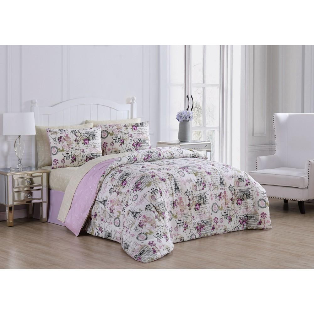 King 8pc Jelena Comforter Set Lilac - Geneva Home Fashion, Multicolored