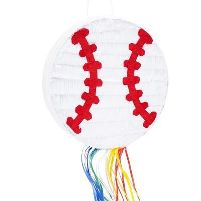 Blue Panda Baseball Pull String Pinata for Sports Theme Party Supplies, Kids Birthday, Small 12.75 inches