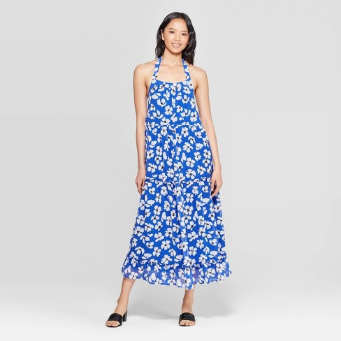 Image result for Women's Floral Print Off the Shoulder Sleeveless Tiered Halter Maxi Dress - Who What Wear