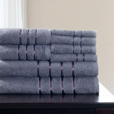 8pc Plush Cotton Bath Towels Sets Silver - Yorkshire Home