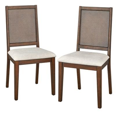 Set of 2 Westbury Cane Style Back Dining Chairs Mocha Red - Buylateral