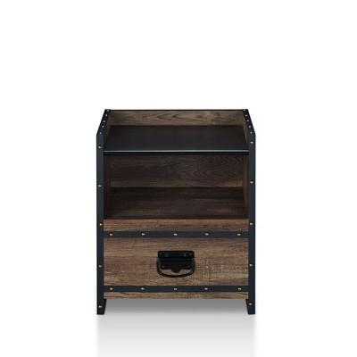 Abbott Metal and Wood End Table Oak - miBasics