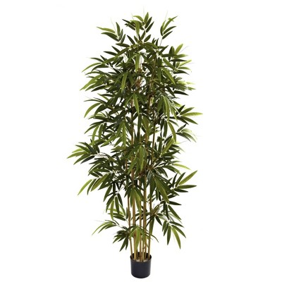 """72"""" Artificial Bamboo Tree in Pot Black - Nearly Natural"""