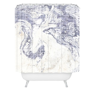 French Linen Marble Shower Curtain Blue - Deny Designs