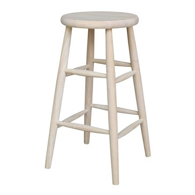 """30"""" Scooped Seat Counter Height Barstool Unfinished - International Concepts"""