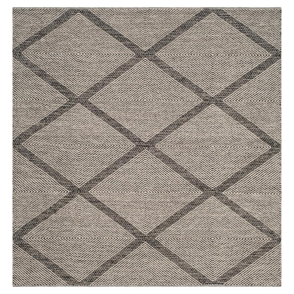 Black Geometric Flatweave Woven Square Area Rug - (6'X6') - Safavieh