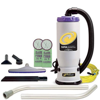 ProTeam 107108 QuarterVac 6 Quart Multifunctional Backpack Vacuum with 2 Piece Wand Tool Kit, Various Attachments, and 50 Foot Extension Cord