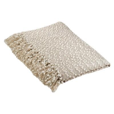 "50""x60"" Petite Pom-Pom Design Throw Blanket Vanilla - Saro Lifestyle"