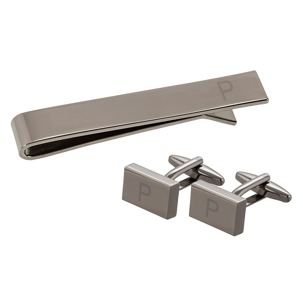 Cathy's Concepts Gray Personalized Rectangle Cuff Link and Tie Clip Set - P, Men's