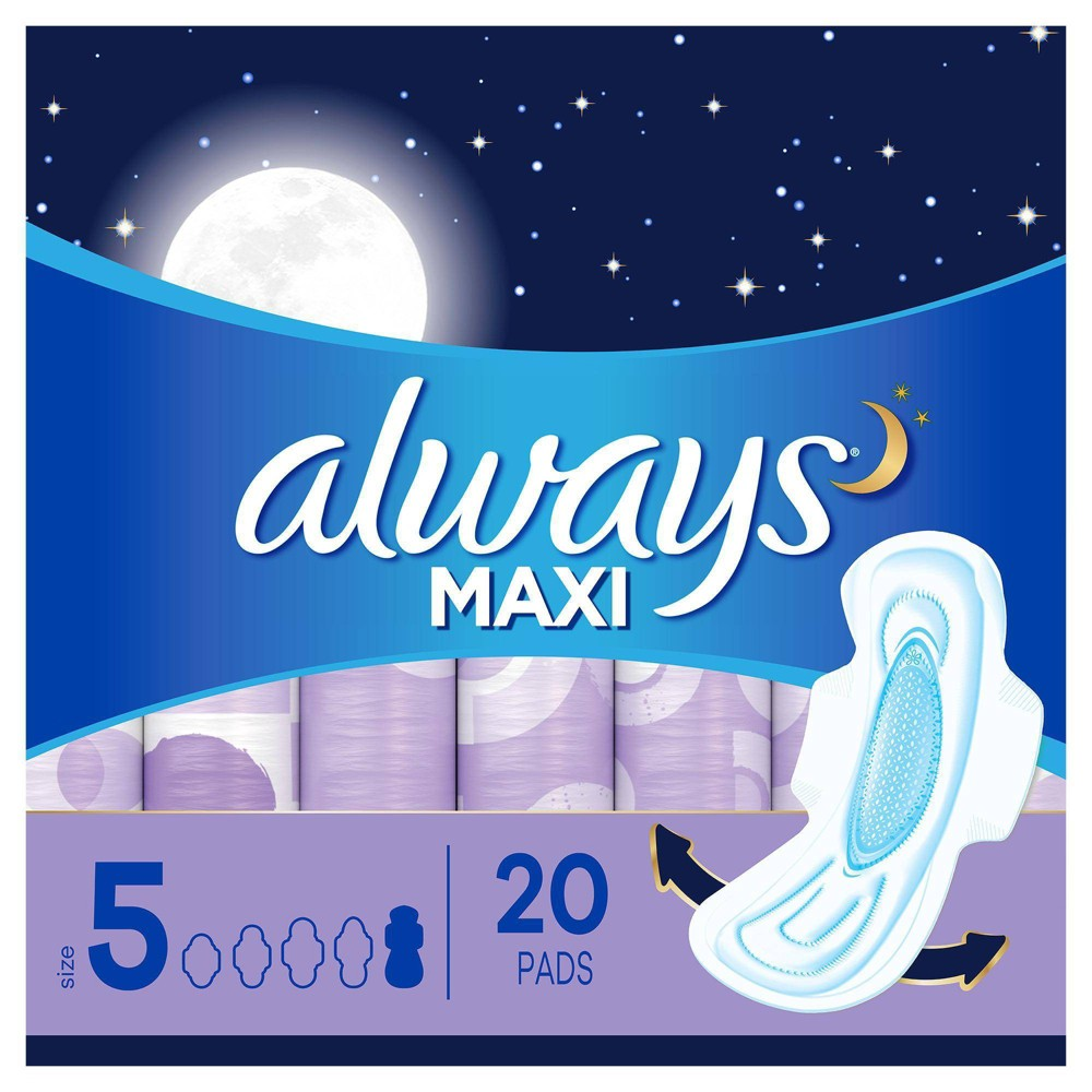 Always Maxi Extra Heavy Overnight Pads With Wings Size 5 20ct