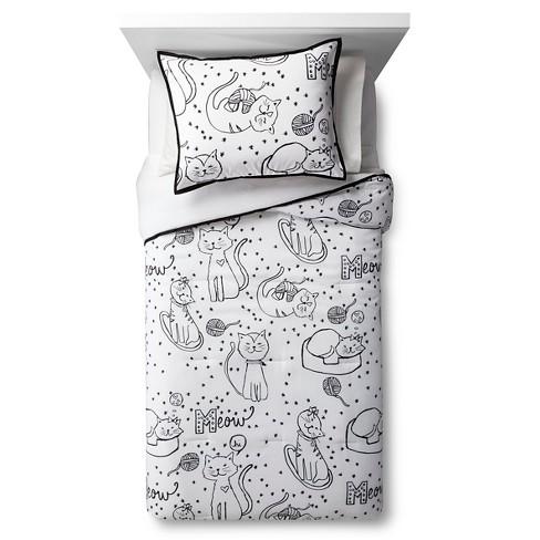 Cat Chat Comforter Set Black White Pillowfort
