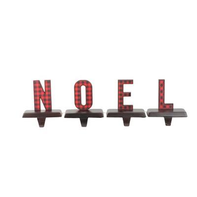 "Northlight Set of 4 Red and Black Buffalo Plaid ""NOEL"" Christmas Stocking Holder 6"