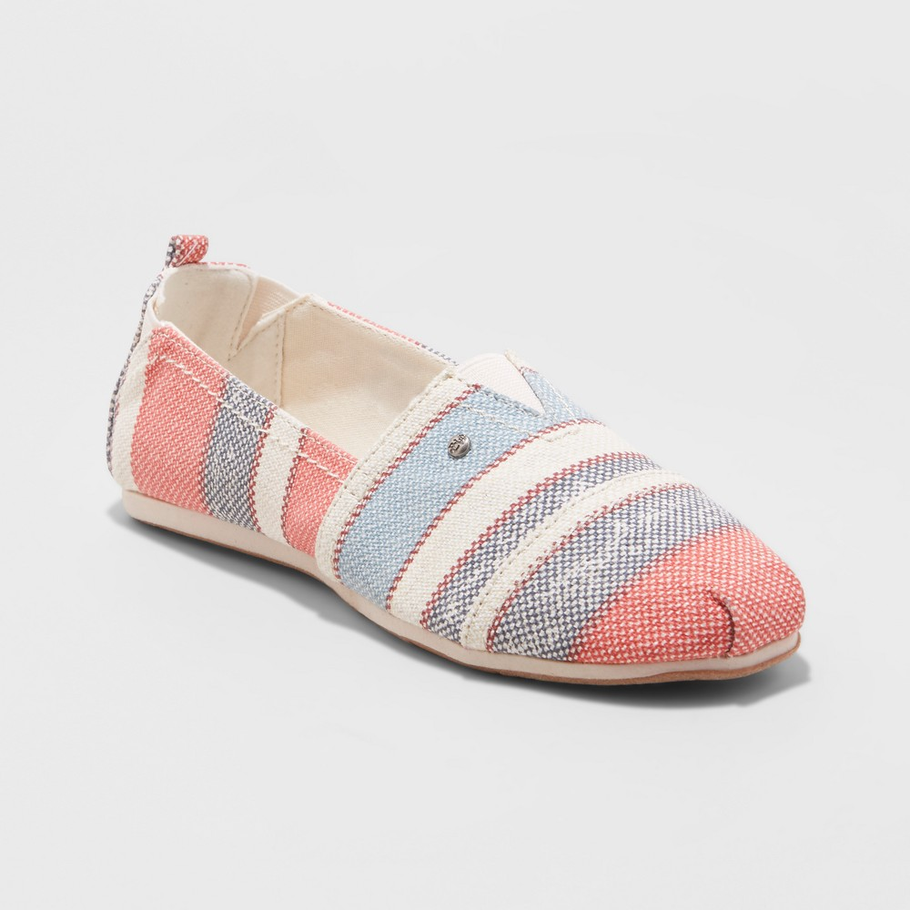 Women's Mad Love Lydia Slip on Star and Stripe Canvas Sneakers - Blue 6