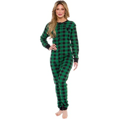 """Silver Lilly Slim Fit Women's """"Oh Deer"""" Buffalo Plaid One Piece Pajama Union Suit with Butt Flap"""